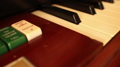 PIANO-ORGAN KEYS (Dolly Move) - Diagonal Move along keys and back Stock Footage