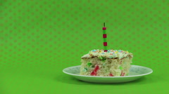 Cake on a Polka Dot Green Background - stock footage