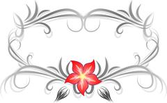 Decorative frame for text with flower - stock illustration