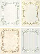 Set of 4 decorative frames Stock Illustration
