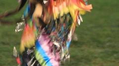 Pow wow jingle dancer tilt up close shot Stock Footage