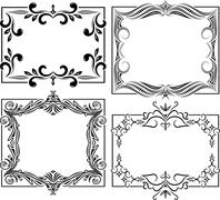 Set of four decorative frames - stock illustration