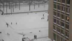 Long Shot of Kids Playing in the Snow in Manhattan New York Stock Video Stock Footage