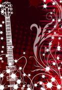 guitar on floral background - stock illustration