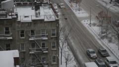 Traffic in Extreme Winter Weather in Manhattan New York Stock Video - stock footage