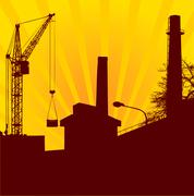 Urban construction with lifting crane on the rising Sun background - stock illustration