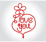 Flower and heart design with I Love You title for Valentines day or wedding      - stock illustration