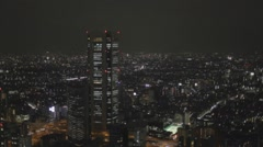 Aerial evening from Tokyo Metropolitan Government Building Stock Footage