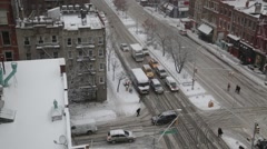 Stock Video Footage of Over Head View of Traffic in Manhattan in Blizzard New York Stock Video