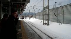 Japan train passing camera Stock Footage