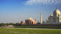 Taj Mahal over river Yamuna Stock Footage