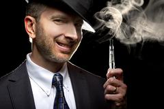 Male Vaping with E-Cigarette Stock Photos
