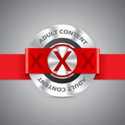 Adult content badge with triple xxx - stock illustration