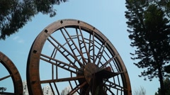 In the rotating wooden windmill, the windmill is huge Stock Footage