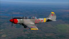 Yakovlev Yak 52 Air to Air Break to Land Stock Footage