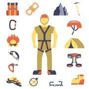Climber gear equipment icons flat Stock Illustration