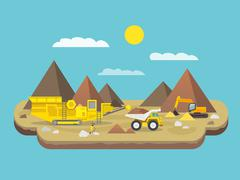 Quarry Flat Illustration Stock Illustration