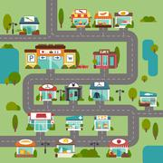 Store Building Road Stock Illustration