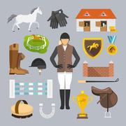 Jockey Icons Flat Stock Illustration