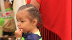 Tiny tot at the pow wow Stock Footage