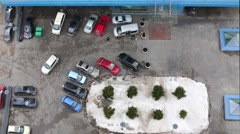 Colored cars in the parking at residential complex. Stock Footage
