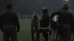 Civil War Battle Canon being loaded Stock Footage