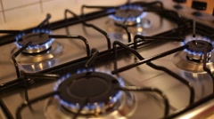 Gas burners of  gas stove. HD video Stock Footage