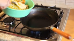 In a frying pan fried noodles Stock Footage