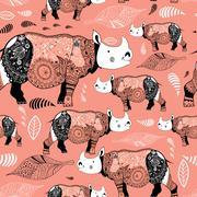 Stock Illustration of texture ornamental rhinos