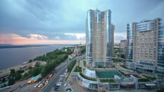 Evening view of the apartment complex Ladya. Stock Footage