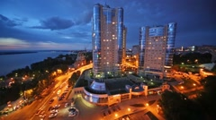 Night view of the apartment complex Ladya in Samara Stock Footage