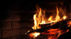 The fire burning firewood Stock Footage