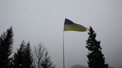 Ukrainian flag flies on the Carpathians - stock footage