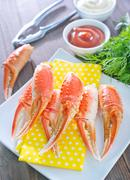 boiled crab claws - stock photo