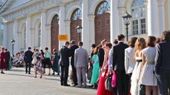 The graduates of high school are going to entrance in Kremlin. Stock Footage