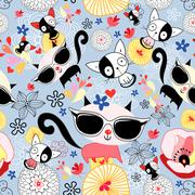 Texture of funny kittens - stock illustration