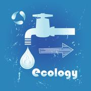 Faucet with a drop of water Stock Illustration