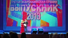 Masters of award are staying on stage at Graduate-2013. Stock Footage