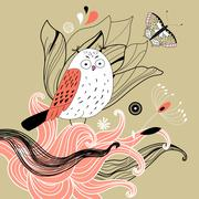 owl and plants - stock illustration