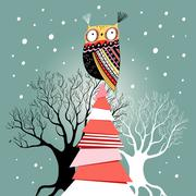 Stock Illustration of Christmas card with an owl on the tree