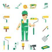 House Painter Flat Set - stock illustration