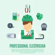 Stock Illustration of Professional Electrician Concept