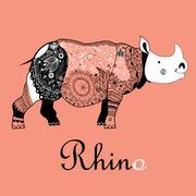 Ornamental rhino graphics Stock Illustration