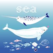 Whales in the sea Stock Illustration