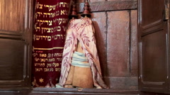 Close up shot of the Aron Kodesh (Hekhal), the cupboard for storage of the Torah Stock Footage
