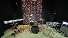 Studio room with musical instruments and record equipment. Stock Footage