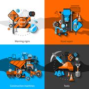 Road Repair Icons - stock illustration