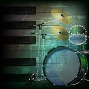 Abstract grunge background with drum kit Stock Illustration