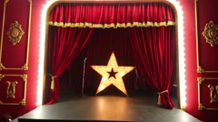 Moving from spectators hall onto stage with five-pointed star. Stock Footage