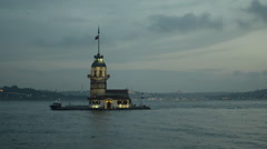 Maiden Tower, leander, Istanbul, Turkey, evening, 1080P Stock Footage